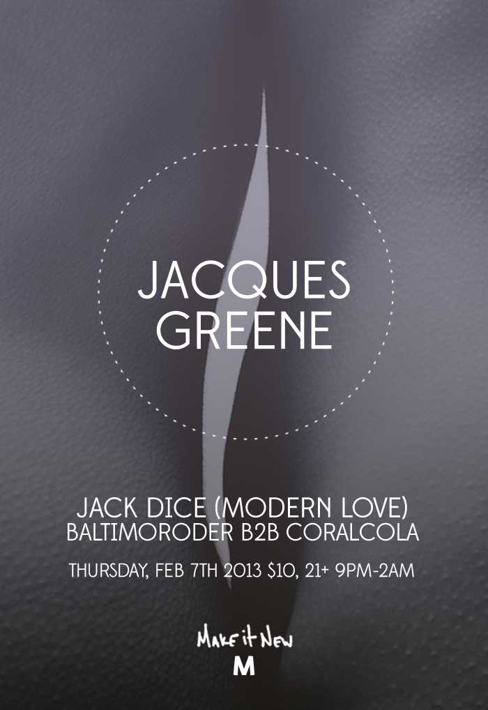 Jacques Green in Boston at Make it New | Flyer design by JSGD